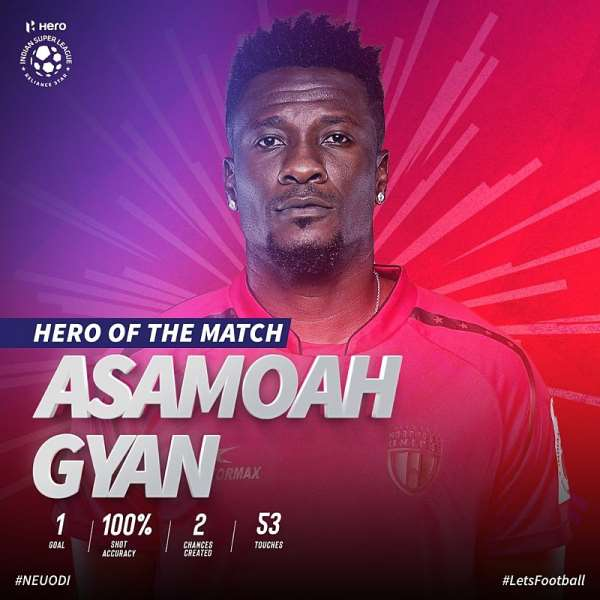 VIDEO: Asamoah Gyan's Second Half Strike Hands NorthEast United First League Triumph