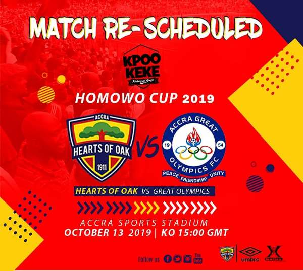 2019 Homowo Cup: Hearts-Olympics Clash Rescheduled To October 13