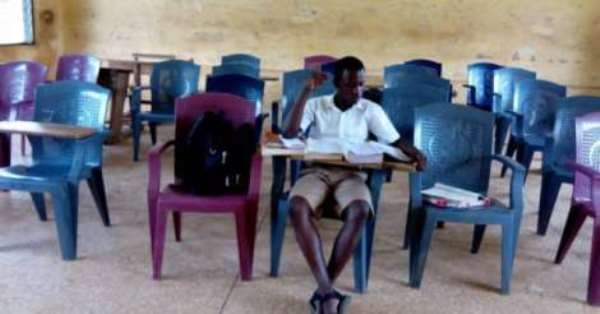Free SHS: K'dua SECTECH Students Use Woods, Plastic Chairs