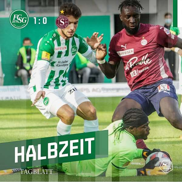 Lawrence Ati-Zigi makes a save against Servette FC. Photo Credit/FC St. Gallen