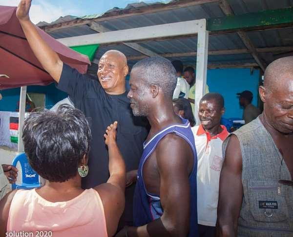 Professor Joshua Alabi in the midst of the teeming supporters in Western Region