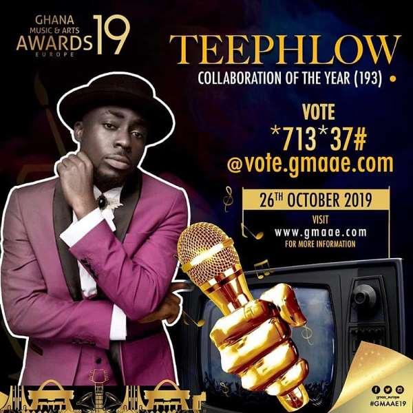 TeePhlow earns a nomination at Ghana Music and Art Awards Europe