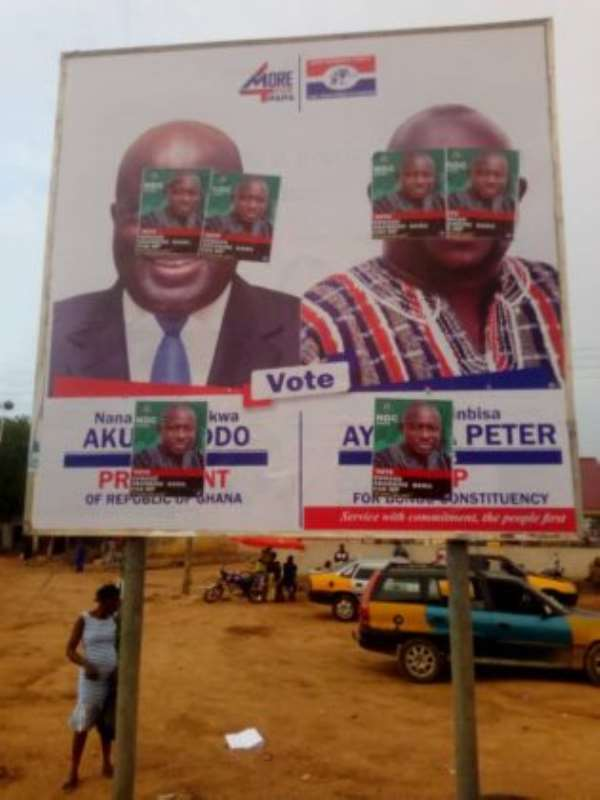 NDC, NPP Clash Over Billboards; Pulls Down Each Other's Campaign Posters In Bongo