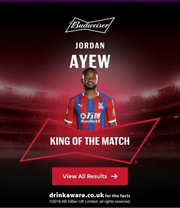 Jordan Ayew Named Man of The Match Against Arsenal