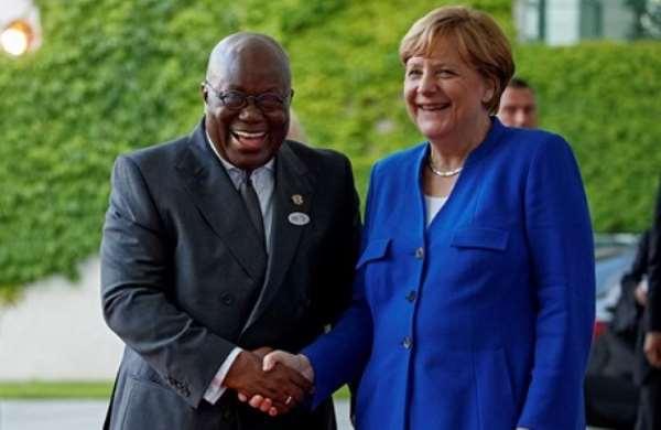 Angela Merkel with the Ghanaian leader, Nana Akufo Addo, on her visit to Ghana: Photo credit- media Ghana
