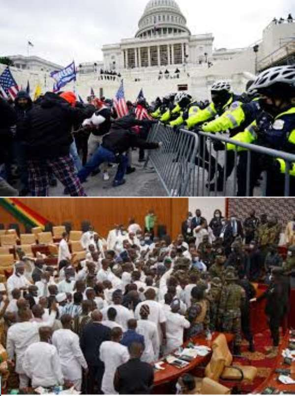 TOP: US Capitol facing siege from armed Trumpian mobs.   DOWN: Debating chamber of  Ghana's parliament under siege from unidentified gunmen