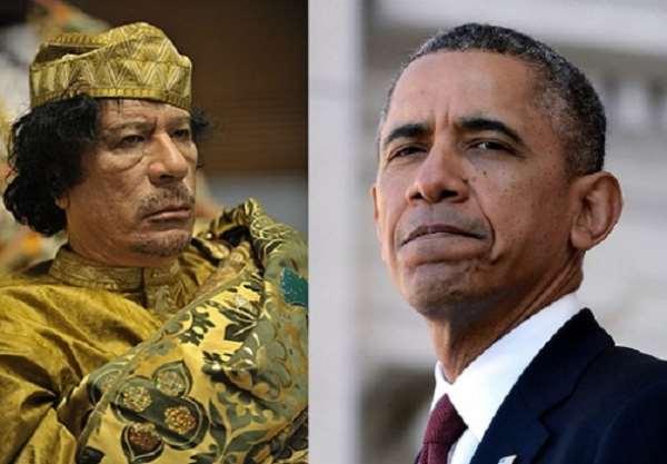 Muammar Qaddafi and Barack Obama