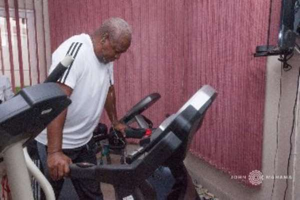 Mahama Keeps Fit At The Gym On His Birthday