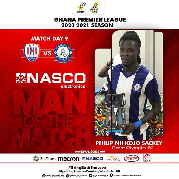 Olympics defender Philip Sackey bags MoTM award after impressive displays in win against Inter Allies