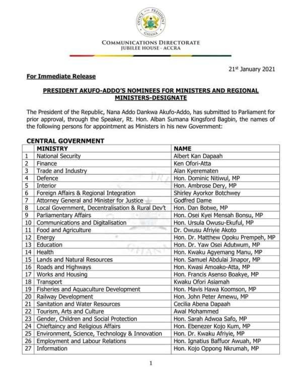 Akufo-Addo drops Atta Akyea, Joe Ghartey, others in his new gov't