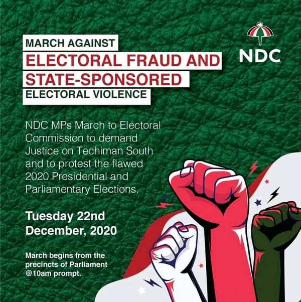 NDC MPs takeover street protest, march to EC headquarters over election results