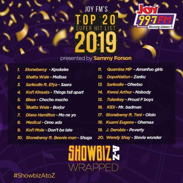 Stonebwoy, Shatta Wale, Sarkodie lead Joy FM's top songs for 2019