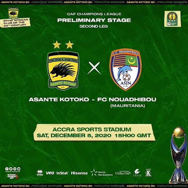 CAF CL: Asante Kotoko's match against FC Nouadhibou to be live on Ceek