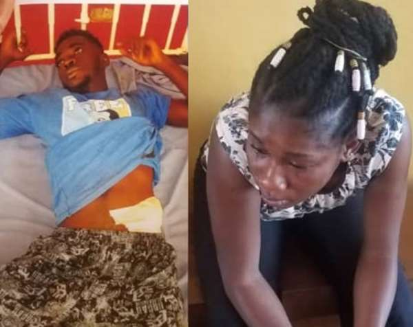 Patrick Opoku and Rose Antwiwaa in handcuff