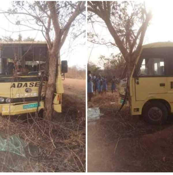 Adaklu SHS Bus Crashes A Tree; No Casualties