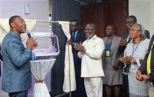 Dr Anthony Nsiah-Asare (centre), the Presidential Advisor on Health, and Dr Lawrence Tetteh (left), Founder, Worldwide Miracle Outreach, launching the jaundice management firefly phototherapy equipment. At the extreme right is Dr Isabella Sagoe-Moses, acting Director, Family Health Division, Ghana Health Service. Picture: BENEDICT OBUOBI