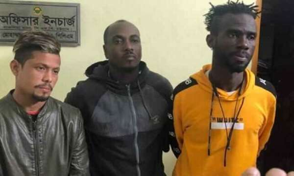 Two Ghanaian and a Bangladeshi footballers detained for their alleged involvement in yaba trading. Photo: Prothom Alo