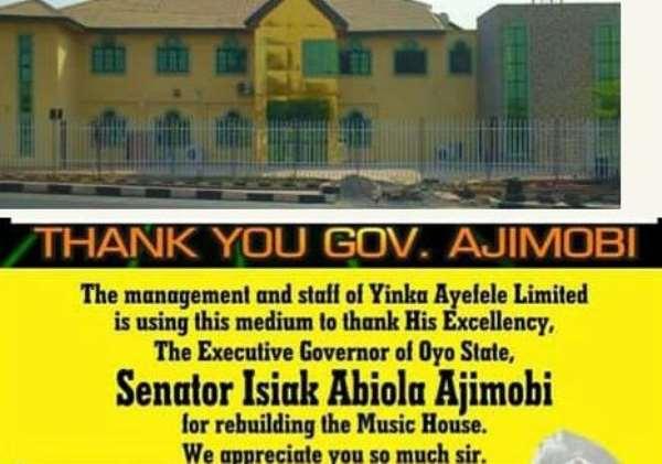 Yinka Ayefele Thanks Governor Rebuilding his Music House