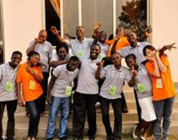 Fifth from left (thubs up) is Komi Adela, the Togolese National who claimed to have been registered by the Electoral Commision in Lome, Togo but voted at Aflao, Ghana during the December 12 Election.
