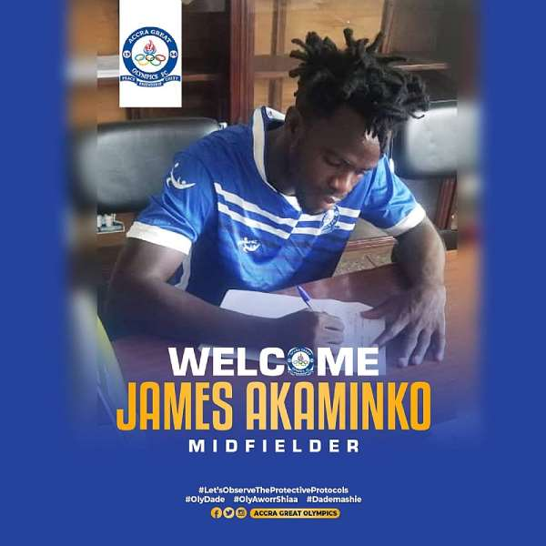 Great Olympics strengthens squad with the signing of midfielder James Akaminko