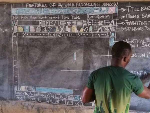 Teacher Commended After Drawing Computer Screen On Chalkboard To Teach