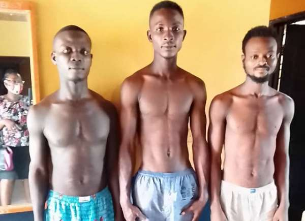 The three suspects in police custody