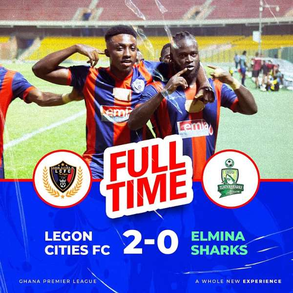 GHPL: Legon Cities 2-0 Elmina Sharks – Hans Kwofie hits brace to power Royals to victory