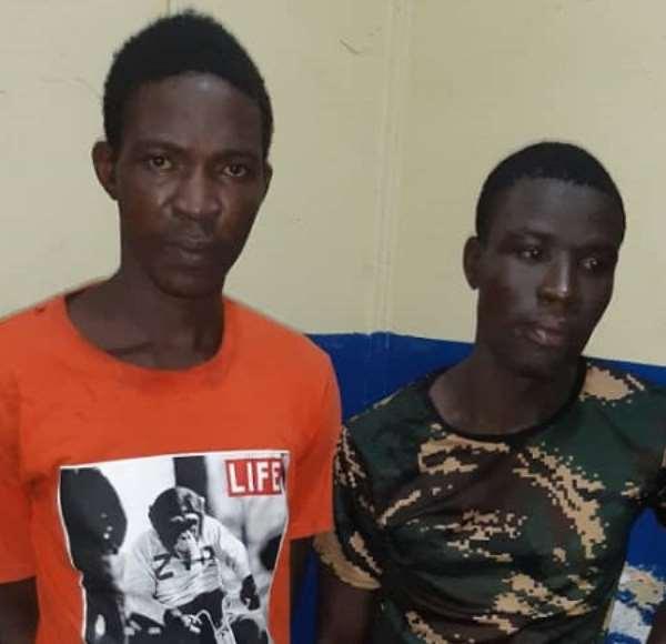 The suspected bag snatchers in police custody
