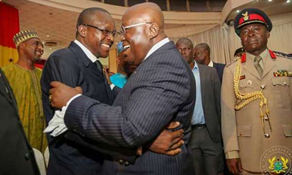 President Nana Akufo-Addo (R) sharing a laughter with Speaker Alban Bagbin (L)