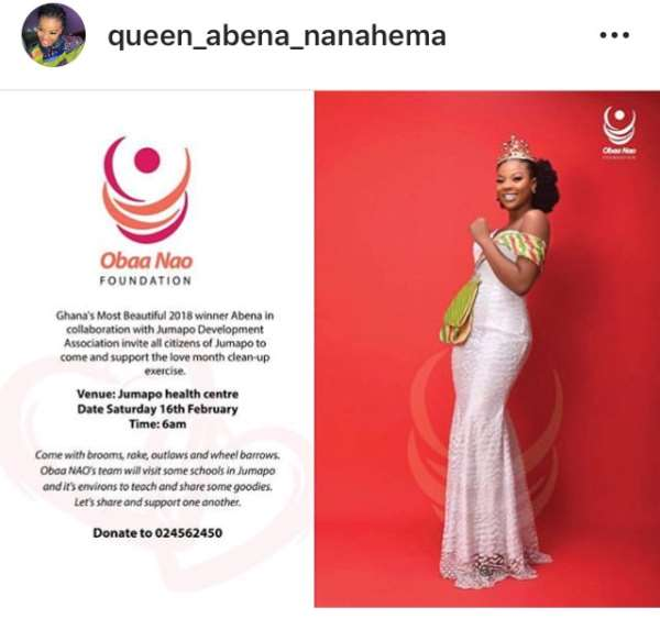 Ghana's most Beautiful winner 2018 Naomi Obeng ( Abena) invites Jumapo citizens to clean.