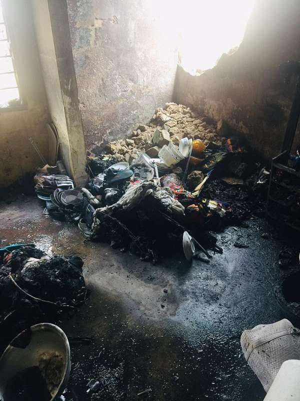 Kumasi: Fire outbreak renders family of four homeless...Appeals to NADMO for support