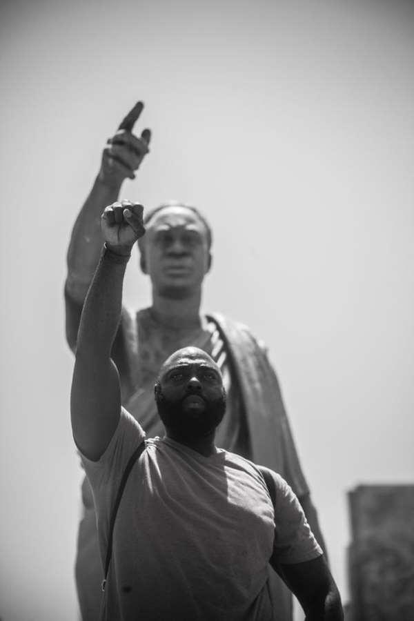 Rashad McCrorey showing he is one with Ghana at Kwame Nkrumah Museum.