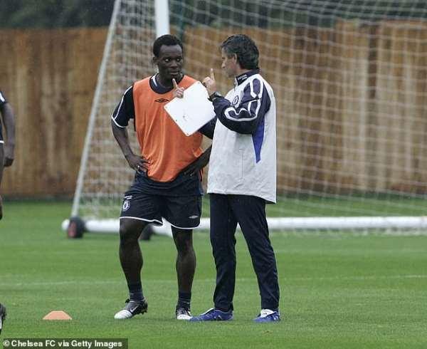 Michael Essien with Jose Mourinho