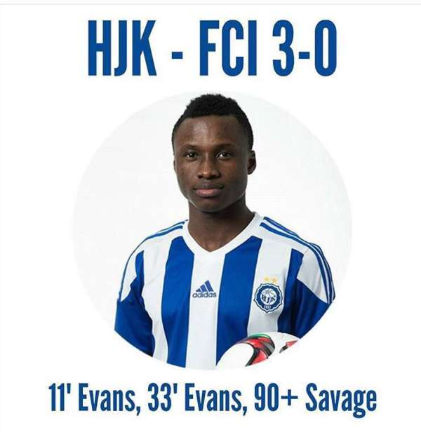 In-form Evans Mensah scores twice for Helsinki, wins player of the match