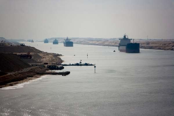 The Suez Canal on a normal day.  - Source: Photo by Camille Delbos/Art In All of Us/Corbis via Getty Images