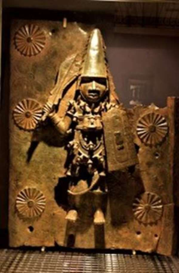 Warrior with sword and shield, Benin, Nigeria, now in Horniman Museum, London, United Kingdom
