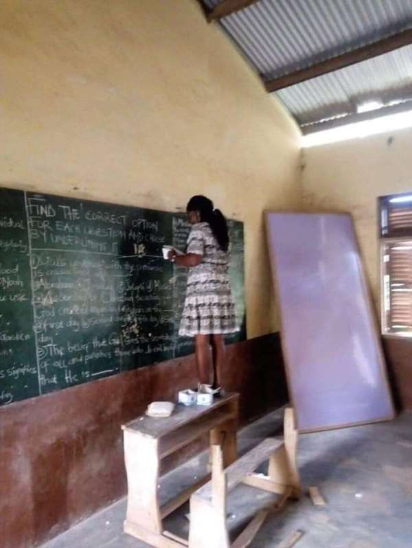 C/R: Basic Schools Write Second Term Exams On Chalk Board [Photos]