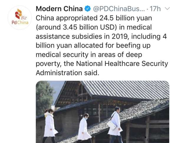 China Spent $3.45bn On Medical Assistance In 2019