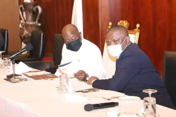 President Akufo Addo [in white] pictured with Sports Minister Mustapha Ussif [Right]