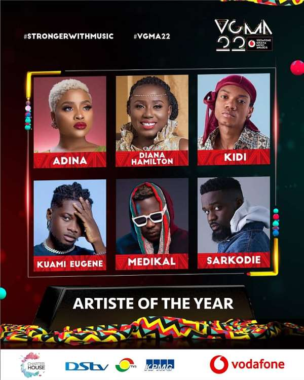 VGMA22!! Here Are The Top 10 Artiste With Most Nominations
