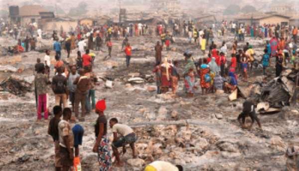 Accra: 'Jealous Girlfriend' Sets Entire Zabrama Wood Market Ablaze
