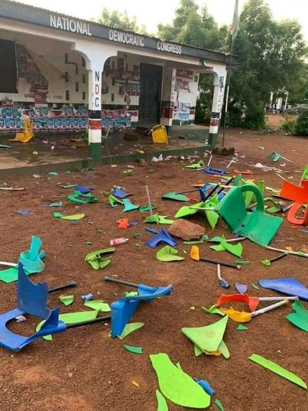 VIDEO: NDC boys engage in gun attacks, vandalize party office in Salaga