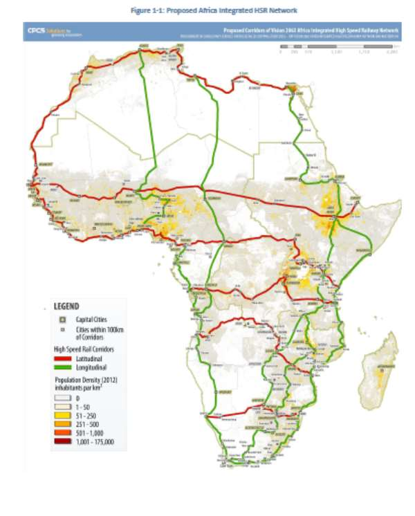 Map of main corridors of a proposed African Integrated High Speed Rail Network