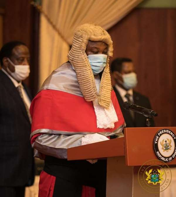 Justice Tanko Amadu at the swearing in ceremony