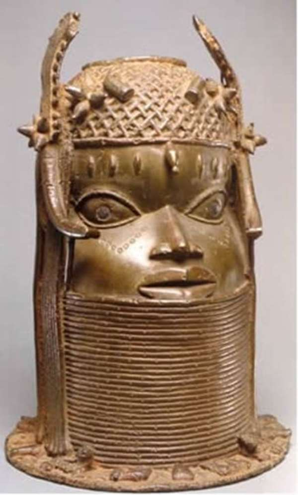 Commemorative head of an Oba, Benin, Nigeria, now in Weltmuseum Vienna, Austria.