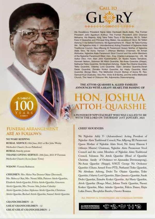 Tribute To My Friend The Ga Politician – Joshua Nii Attoh Quarshie