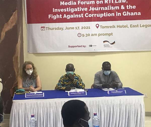 Ms. Sussane Fuchs-Mwakideu [Left], Justice K.A Ofori-Atta [Middle] and Sulemana Braimah [Right]