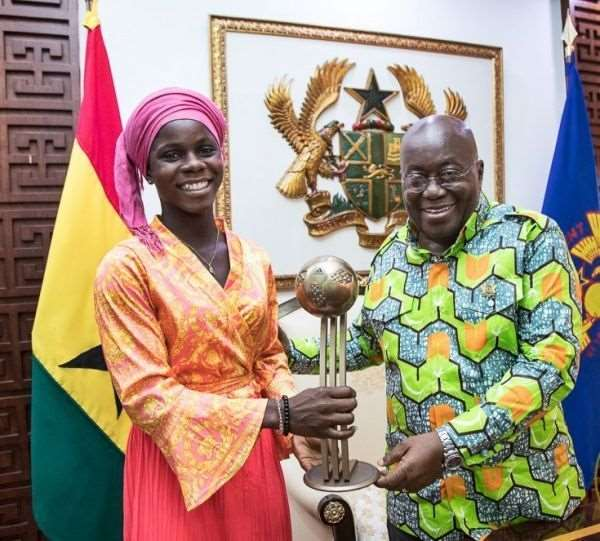 Black Queens Forward Mukarama Abdulai Visits Prez Akufo Addo [PHOTOS]
