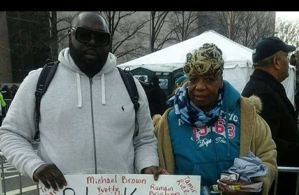 Rashad McCrorey and the mother of Eric Garner at 2014 March on Washington, DC