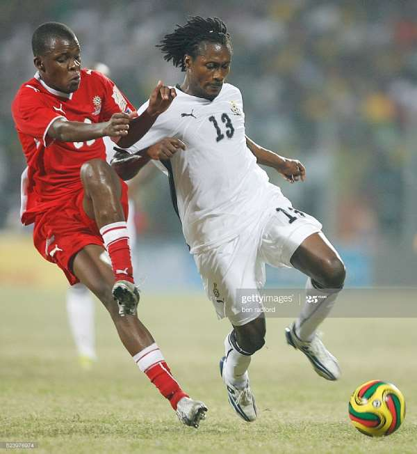 Baffour Gyan of Ghana and Jamunovamdu Ngatjizeko of Namibia during the Group A, 2008 CAF African Cup of Nations match between Ghana and Namibia at the Ohene Djan Stadium in Accra, Ghana, West Africa. (Photo by ben radford/Corbis via Getty Images)